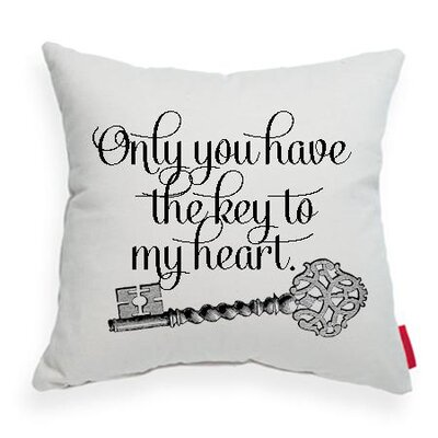 Pettis Only You Have the Key Throw Pillow Pillow Cover Color: Stone