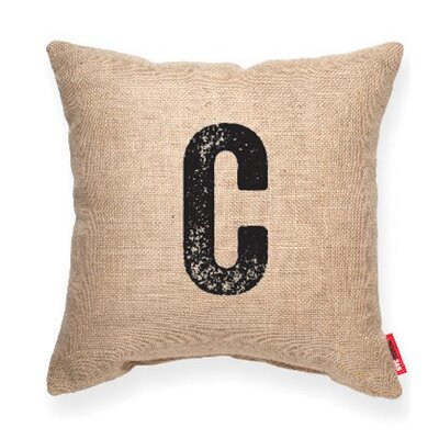 Dolton Letter C Throw Pilllow Pillow Cover Color: Brown