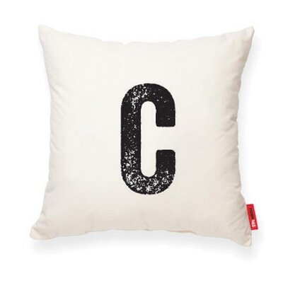 Dolton Letter C Throw Pilllow Pillow Cover Color: Cream