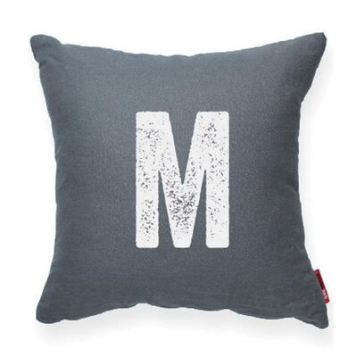Dolton Letter M Throw Pillow Pillow Cover Color: Gray