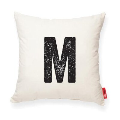 Dolton Letter M Throw Pillow Pillow Cover Color: Cream
