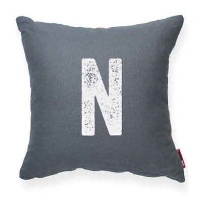 Dolton Letter N Throw Pillow Pillow Cover Color: Gray