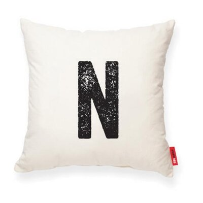Dolton Letter N Throw Pillow Pillow Cover Color: Cream