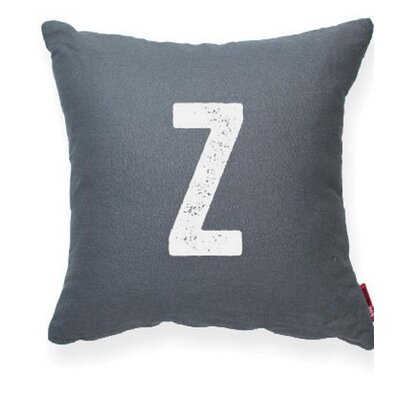 Dolton Letter Z Throw Pillow Pillow Cover Color: Gray