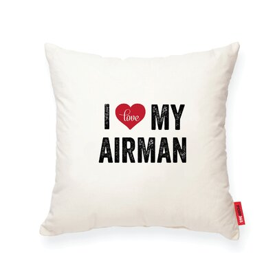 Pettitt I Heart Airman Cotton Throw Pillow