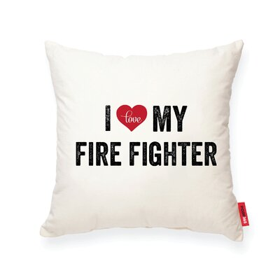 Pettitt I Heart Fireman Cotton Throw Pillow