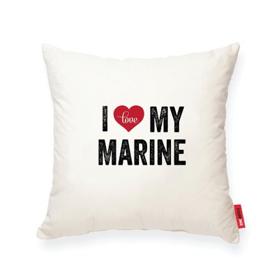 Pettitt I Heart Marine Cotton Throw Pillow