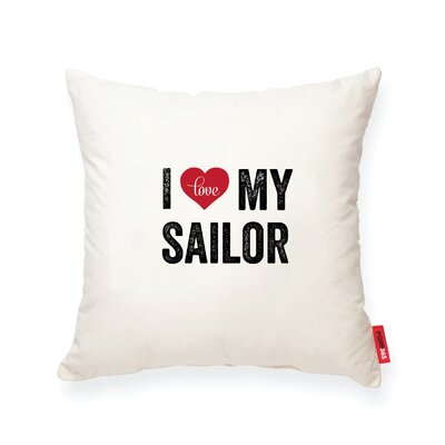 Pettitt I Heart Sailor Cotton Throw Pillow
