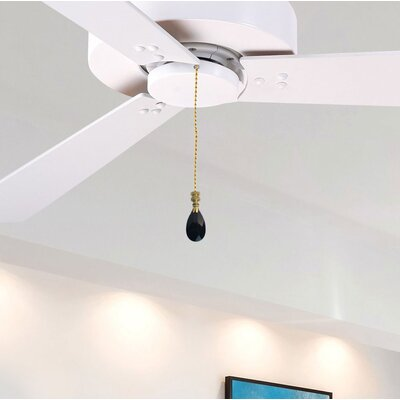 Fan Pull Chain with Diamond Swiss Cut Amber Crystal Finial Shade Color: Black