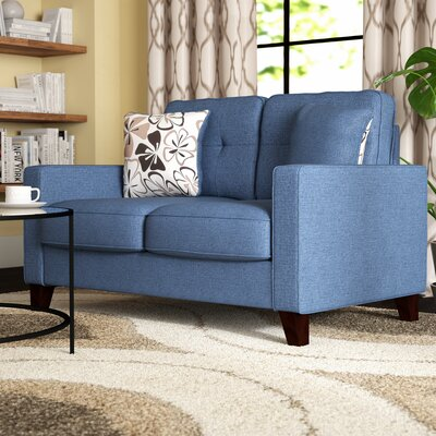 Lilliana Linen Tufted Loveseat Upholstery: Ocean Blue