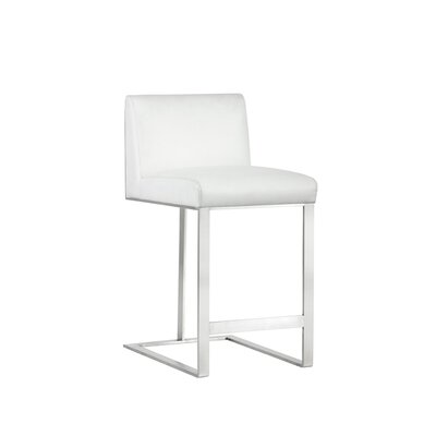 Club Dean Counter 26 Bar Stool Upholstery: White