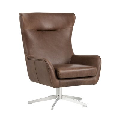 Club Judy Swivel Lounge Chair Upholstery: Brown