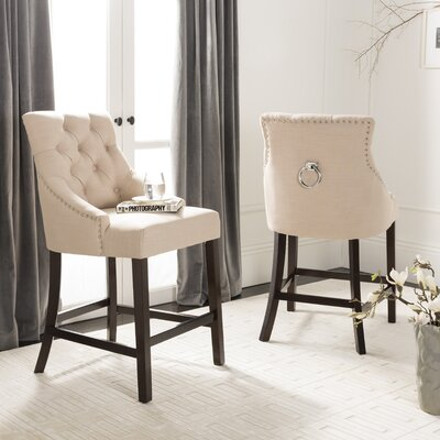 Ayansh 41 Bar Stool Upholstery: Beige/Linen