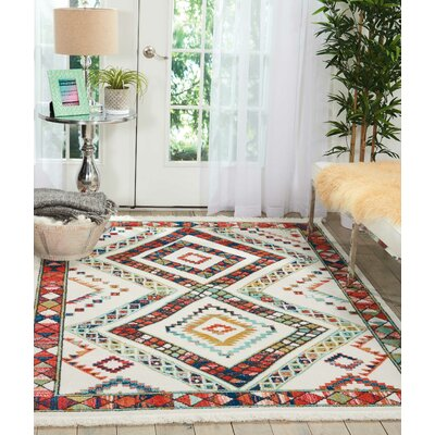 Carice White/Red Area Rug Rug Size: Rectangle 67 x 97