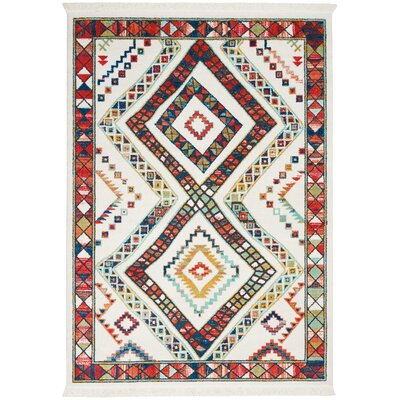Carice White/Red Area Rug Rug Size: Rectangle 53 x 76