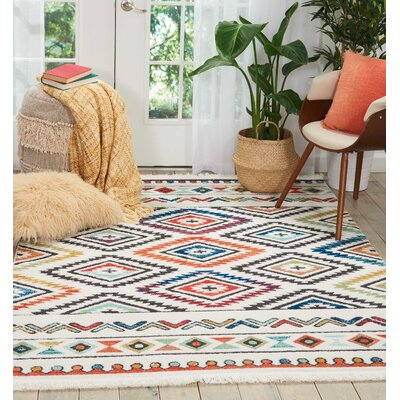 Carice Red/Blue Area Rug Rug Size: Rectangle 6'7