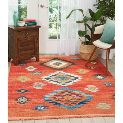 Pittsfield Red Area Rug Rug Size: Rectangle 53 x 76