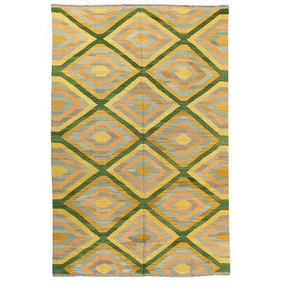 Kilim Hand-Woven Wool Green/Yellow Area Rug