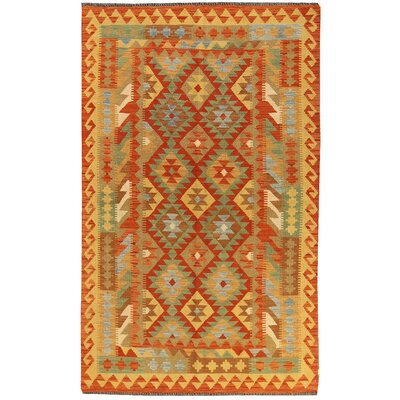 Kilim Hand-Woven Wool Orange Area Rug