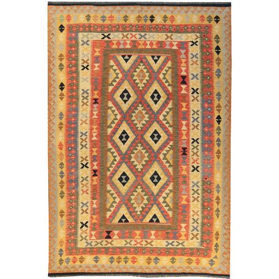 Kilim Hand-Woven Wool Red/Yellow Area Rug