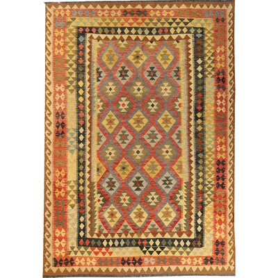 Kilim Hand-Woven Wool Orange/Yellow Area Rug