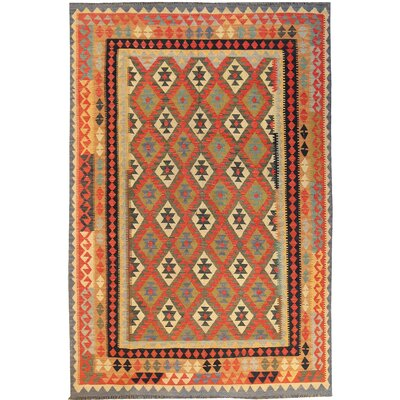 Kilim Hand-Woven Wool Red Area Rug