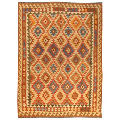 Kilim Hand-Woven Wool Orange/Ivory Area Rug