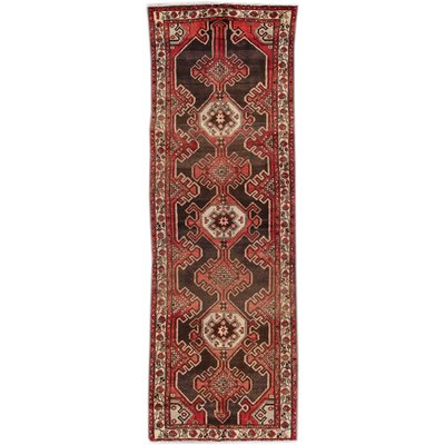 Vintage Heriz Hand-Knotted Wool Red Area Rug