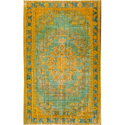 Revival Hand-Knotted Wool Yellow Area Rug