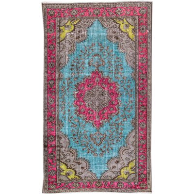 Revival Hand-Knotted Wool Blue/Pink Area Rug