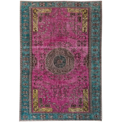Revival Hand-Knotted Wool Pink/Green Area Rug