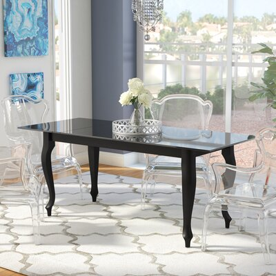 Alena Retro Glass Top Dining Table Base Finish: Black, Top Finish: Black