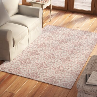 Emersyn Hand-Tufted Ivory/Red Area Rug Rug Size: Rectangle 5 x 8