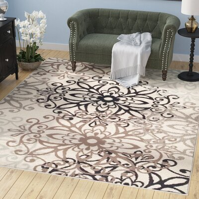 Tolliver Ivory/Black Area Rug Rug Size: Rectangle 5 x 8