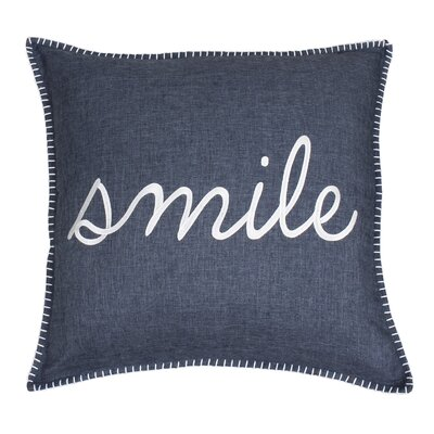 Shanta Smile Embroidered Throw Pillow Color: Navy
