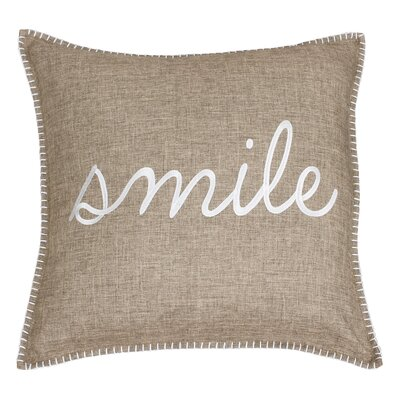 Shanta Smile Embroidered Throw Pillow Color: Gray