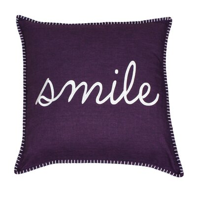 Shanta Smile Embroidered Throw Pillow Color: Black
