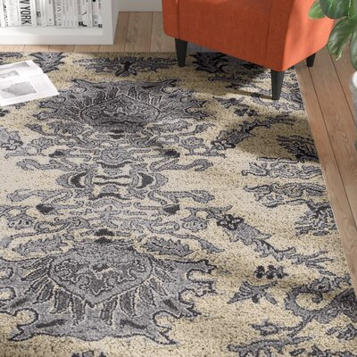 Carvey Floral Hand-Tufted Wool Beige/Blue Area Rug Rug Size: 6 x 9