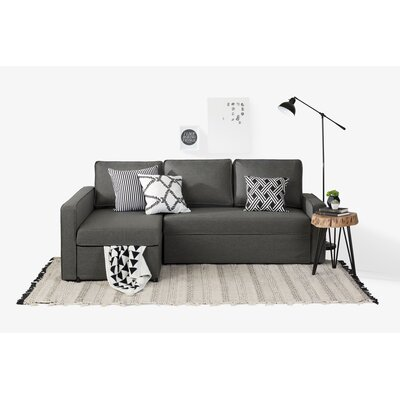 Live-It Cozy Reversible Sectional with Ottoman Upholstery: Charcoal Gray