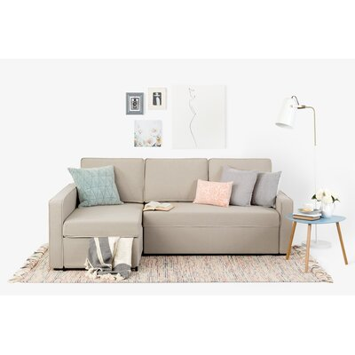 Live-It Cozy Reversible Sectional with Ottoman Upholstery: Oatmeal Beige