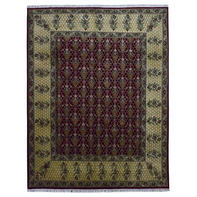 One-of-a-Kind Bessey Tabriz Hand-Knotted Wool Red/Beige Area Rug