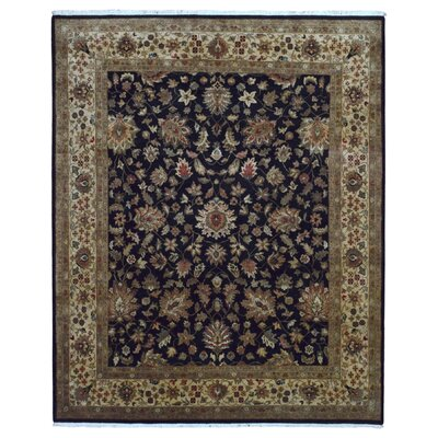 One-of-a-Kind Gracinha Tabriz Hand-Knotted Wool Black/Beige Area Rug