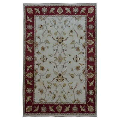 One-of-a-Kind Guilherme Hand-Knotted Wool Beige/Red Area Rug