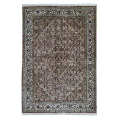 One-of-a-Kind Dunston Mahi Tabriz Hand-Knotted Silk Olive Area Rug