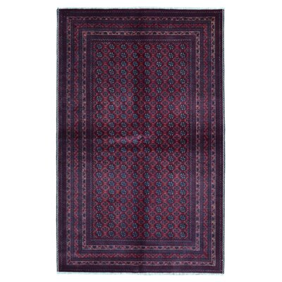 One-of-a-Kind Angoy Afghan Hand-Knotted Wool Purple Area Rug