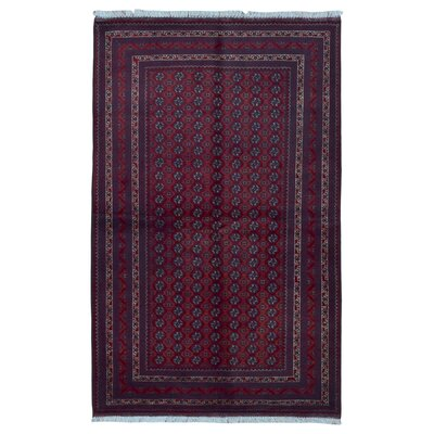 One-of-a-Kind Angoy Afghan Hand-Knotted Wool Purple/Red Area Rug