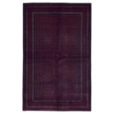 One-of-a-Kind Angoy Afghan Hand-Knotted Wool Dark Red Area Rug