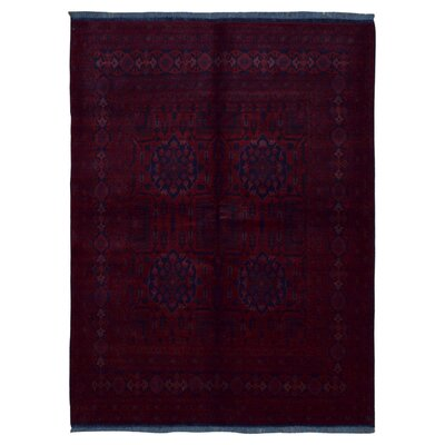 One-of-a-Kind Angoy Hand-Knotted Wool Dark Red/Navy Area Rug