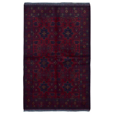 One-of-a-Kind Angoy Afghan Hand-Knotted Wool Red Area Rug