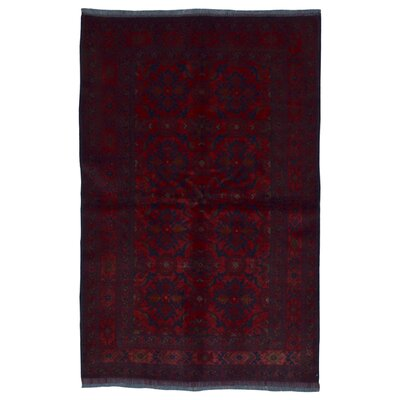 One-of-a-Kind Angoy Afghan Hand-Knotted Wool Light Red/Navy Area Rug